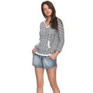 NWT Roxy Blue Stripe Hooded Sweater Size M